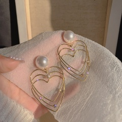 Golden Heart Alloy Pearl Dangle Earring Jewelry Wholesale Heart