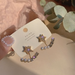 Star Pearl Golden Alloy Sutd Earrings Star