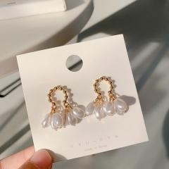 Golden Pearl Metal Allow Stud Earrings Wholesale Pearl