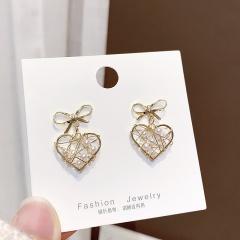 Gold Heart Alloy Dangle Stud Earring Heart