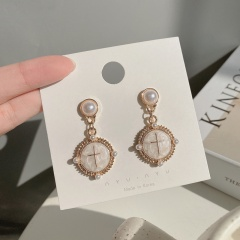 Fashion Golden Metal Cross Inside Circle Dangle Stud Earrings Cross