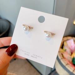 Fashion Gold Pearl Rhinestone Stud Earrings Wholesale Pearl