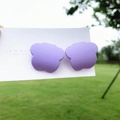 Geometric Earrings Candy Colored Plum Blossom Earrings purple