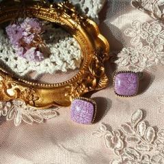 Purple Flower Grape Butterfly Geometric Purple Series Earrings 339
