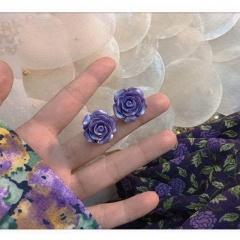 Purple Flower Love Butterfly Purple Series Earrings 360