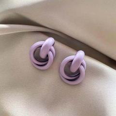 Purple Flower Love Butterfly Purple Series Earrings 361