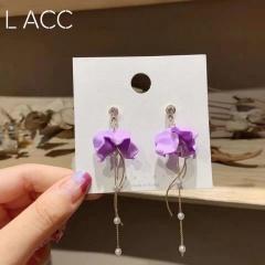 Wholesale Purple Flower Pearl Stud Swing Earrings 366