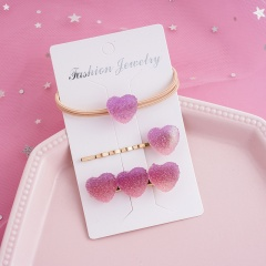 Rainbow Fudge Gradient Purple Love Hairpin Hair Tie Three-piece Set Violet