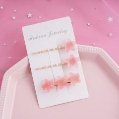 Rainbow Fudge Gradient Yellow Star Hair Clip Three-piece Set Pink