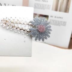 Small Daisy Crystal Flower Hairpin Blue-gray