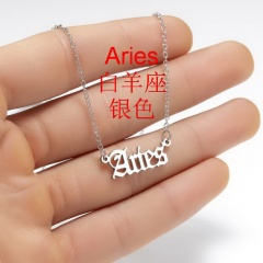 Stainless Steel 12 Constellation Necklace Clavicle Chain Aries