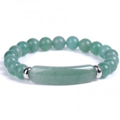 Beaded Elastic Bracelet Green Jade