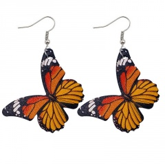 Imitation Butterfly Leather Alloy Ear Hook Earrings Style 2