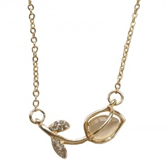 Women's Gold Rose Flower Crystal Choker Necklace Earrings Jewelry Set Wholesale nacklace