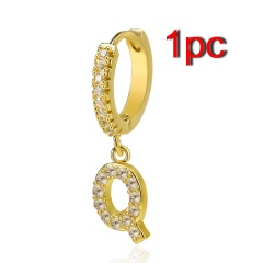 Fashion Zirconia A-Z Letters Alphabet Gold Earrings Stud Dangle Hoop Women 1PC Q