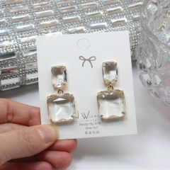 Square Crystal Dangle Elegant Earrings Wholesale White