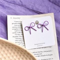 Violet Stud Earrings Bowknot