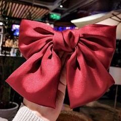 Ribbon Hairgrips Big Large Bow Hairpin Satin Hair Clip Barrette Hair Accessories Red