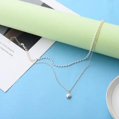 Double pearl clavicle chain choker chain Silver