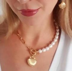 Elegant Women Chain Choker Pearl Scallop Pendant Necklace Gold Chain