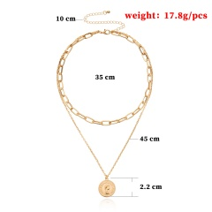Geometric Multi-layered Beauty Head Pendant Necklace Golden