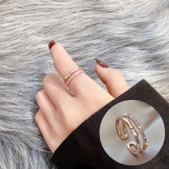 Open Adjustable Rhinestone Ring J093 Rose gold