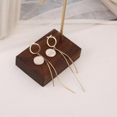 Shell fringed long clip earrings ear stud