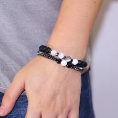 Black Gallstone Matte With Beaded Men's Bracelet Natural stone