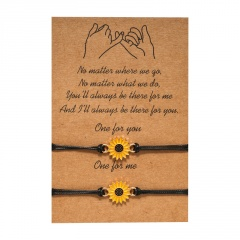 Sunflower 2 Braided Adjustable Couple Paper Card Bracelet Set B-Sun flower