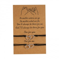 Double heart 2 sets of woven adjustable paper card bracelet for lovers Double heart