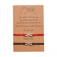 8 characters and 2 pieces of woven adjustable lovers paper card bracelet set Eight