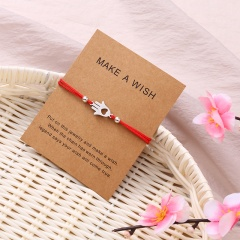Paper card hand heart knitting adjustable bracelet Red