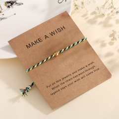 Paper card cotton string bead braid adjustable bracelet F4