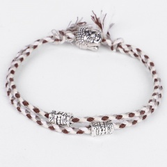Double cotton cord hand - woven adjustable bracelet White-brown