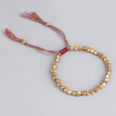 Shaped copper beads colored tassel string hand-woven adjustable bracelet Golden