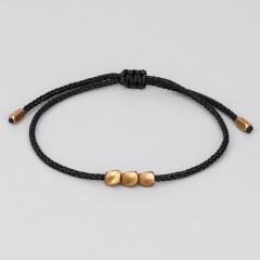 3 shaped copper beads hand-woven adjustable bracelet Black