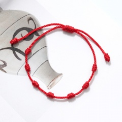 7 Knot Red Rope Lucky Friendship Woven Adjustable Paper Card Bracelet 1 pc(No Card)