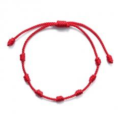 7 red knots lucky friendship knitting adjustable bracelet 1 PC(No Card)