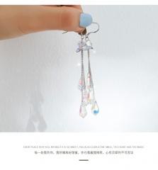 Long drop crystal earhook earrings White plating K