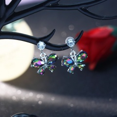 Colored crystal rhinestone stud earrings Zircon butterfly