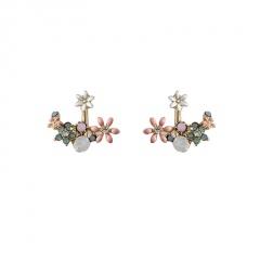 Korean Fashin Gold Alloy Crystal Stud Earrings Jewelry Flower