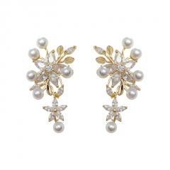 Korean Fashion Alloy Gold Pearl Stud Earrings Wholesale Flower
