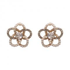 Korean Fashion Alloy Gold Pearl Stud Earrings Wholesale Hollow Flower