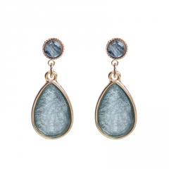 Fashion Waterdrop Shape Blue Stone Dangle Stud Earrings Blue