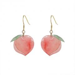 Pink Peach Golden Ear Hook Earrings Pink