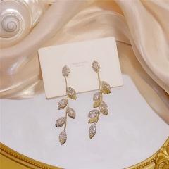 Long Tassel Leaves Filled With Stud Earrings Golden
