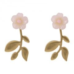 Shell Flower with Gold Chain Stud Earrings Flower