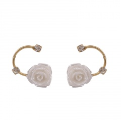 Shell Flower with Gold Chain Stud Earrings Rose