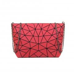 Geometric Ringer Chain Women's Bag Shoulder Bag Crossbody Bag 28*18*7.5cm The red triangle