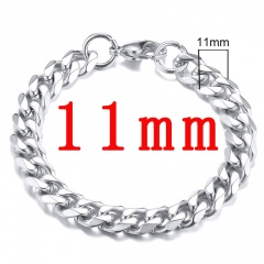 Wholesale 22CM Length Fashion Stainless Steel Chain Men's Bracelet Silver-11mm